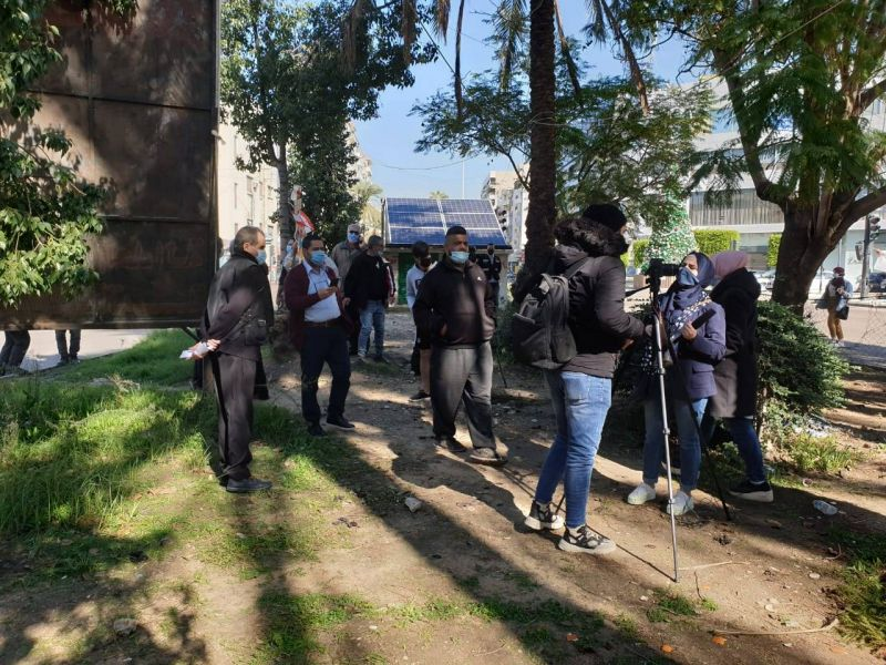 Manifestation sur la place Élia à Saïda contre le bouclage total