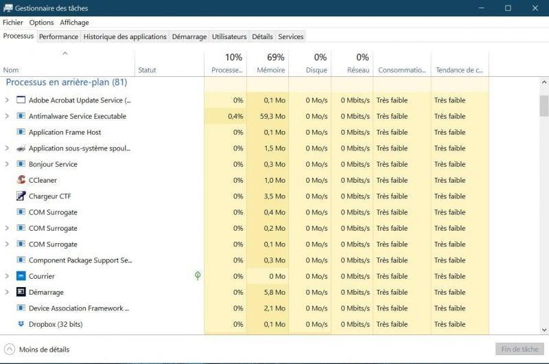 Forcer la fermeture d'un logiciel bloqué sous Windows 10
