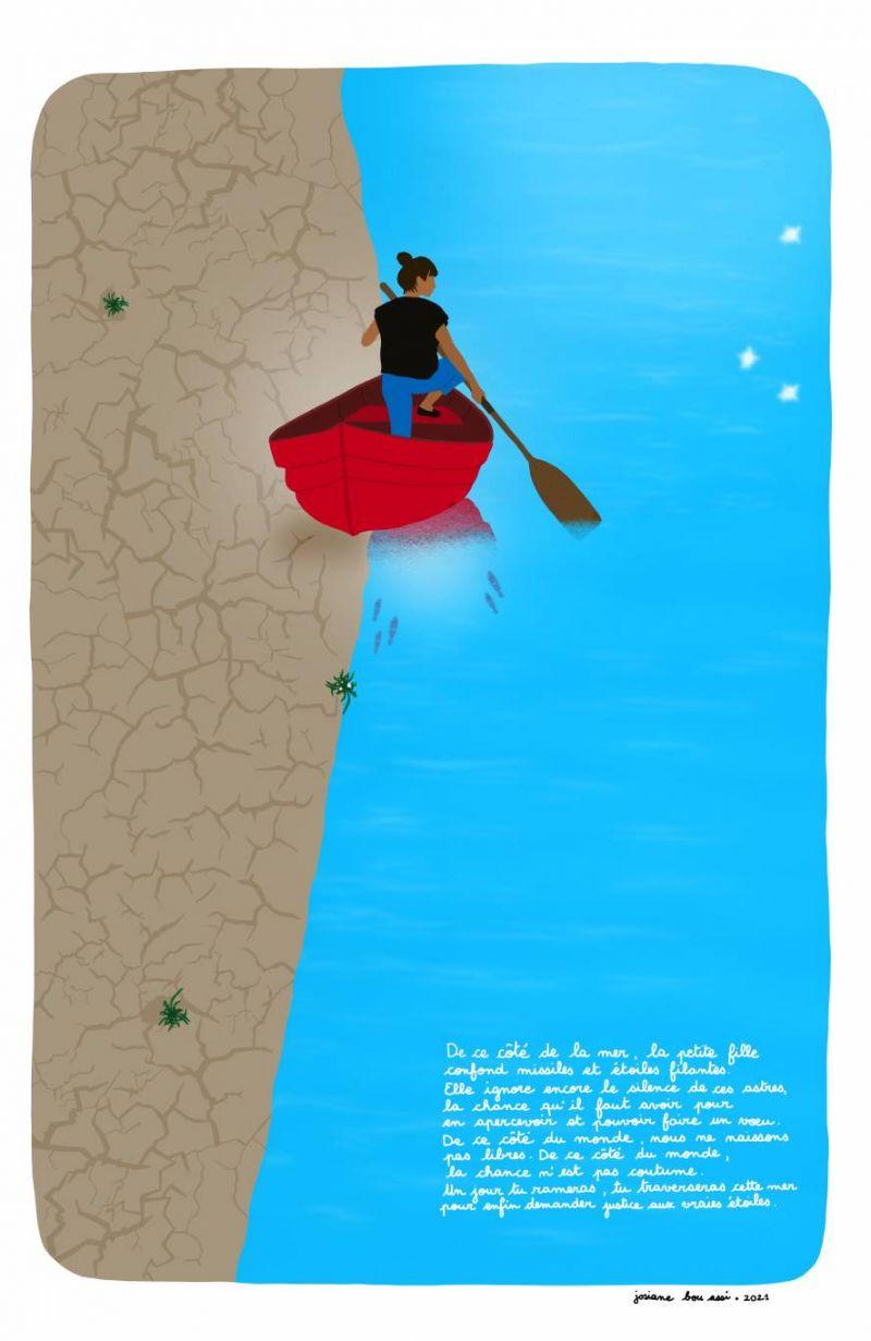 De ce côté de la mer : l'illustration de Josiane Bou Assi