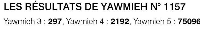 Les résultats de Yawmieh n° 1157