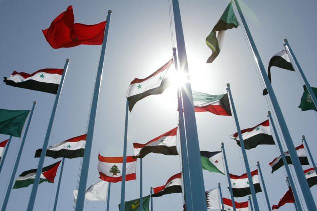 Les drapeaux des pays de la Ligue arabe, à Damas, en 2008. AFP archives