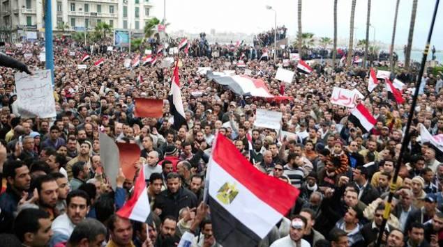 Le mouvement de contestation populaire, le 4 février 2011, à Alexandrie en Égypte. AFP archives